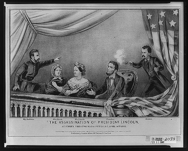 John Wilkes Booth assassinates Abraham Lincoln