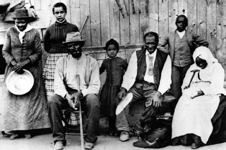 "Harriet Tubman as ""Conductor"" with escaped slaves at an Underground Rail Road station"