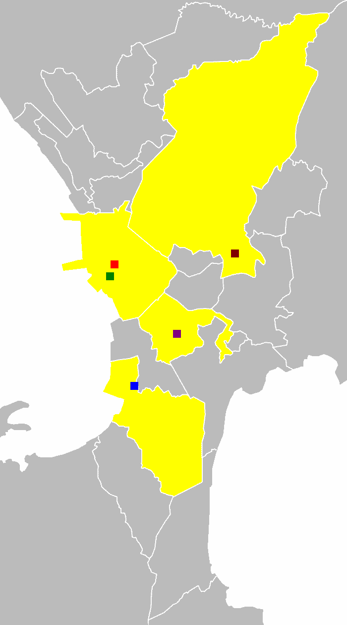 Location of the Rizal Day Bombings within the Philippines: Plaza Ferguson, Makati CBD, Blumentritt station, Cubao bus, Ninoy Aquino International Airport.