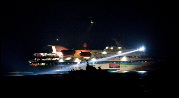 Israeli commandos raided a flotilla of aid ships bound for Gaza on Monday in the Mediterranean Sea. In this image reviewed by the Israeli military before release, Israeli vessels were seen early Monday as they intercepted the Mavi Marmara.