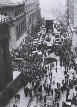 A crowd gathers outside the NYSE on Black Tuesday
