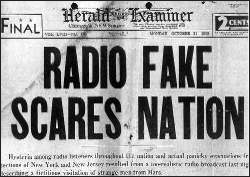 Herald Examiner front page describing War of the Worlds