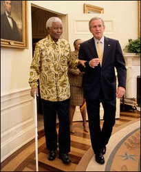 On July 9 2002 U.S. President George W. Bush presented Nelson Mandela with the Presidential Medal of Freedom in the East Room of the White House.