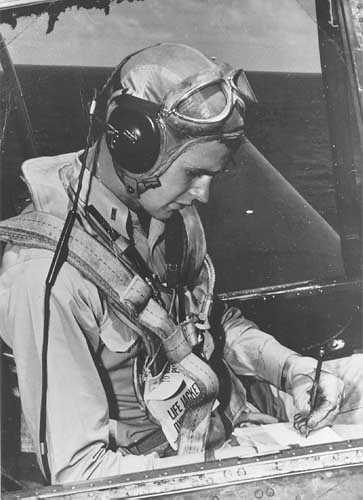 George Bush in his TBM Avenger on the carrier USS San Jacinto in 1944