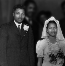 Nelson Mandela and Evelyn Mase at the wedding of Walter and Albertina Sisulu in 1944