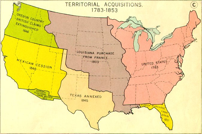 A government map, probably created in the mid-20th century, that depicts a simplified history of territorial acquisitions within the continental United States
