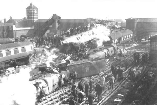 Collision of the 'Windward Isles' and 'Princess Anne' trains at the Harrow and Wealdstone Station