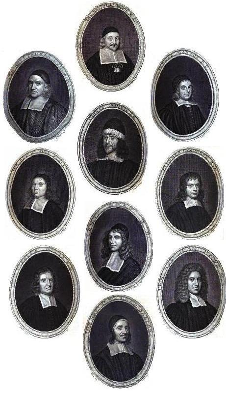 Gallery of famous seventeenth-century Puritan theologians: Thomas Gouge, William Bridge, Thomas Manton, John Flavel, Richard Sibbes, Stephen Charnock, William Bates, John Owen, John Howe, Richard Baxter.