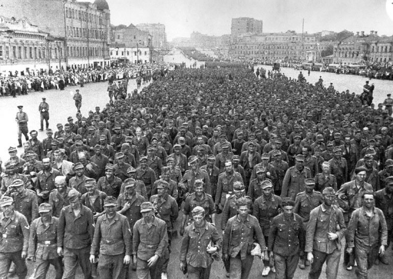 German prisoners from the Fourth Army are marched through the streets of Moscow.