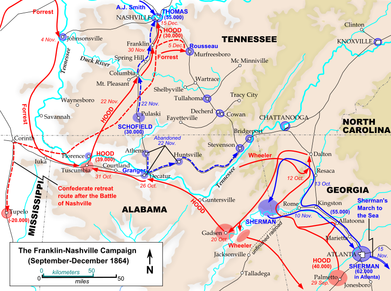 Map of the Franklin-Nashville Campaign, including the Battle of Decatur
