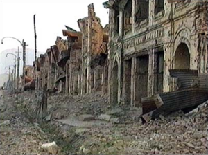 The destruction in Kuwait during the war.