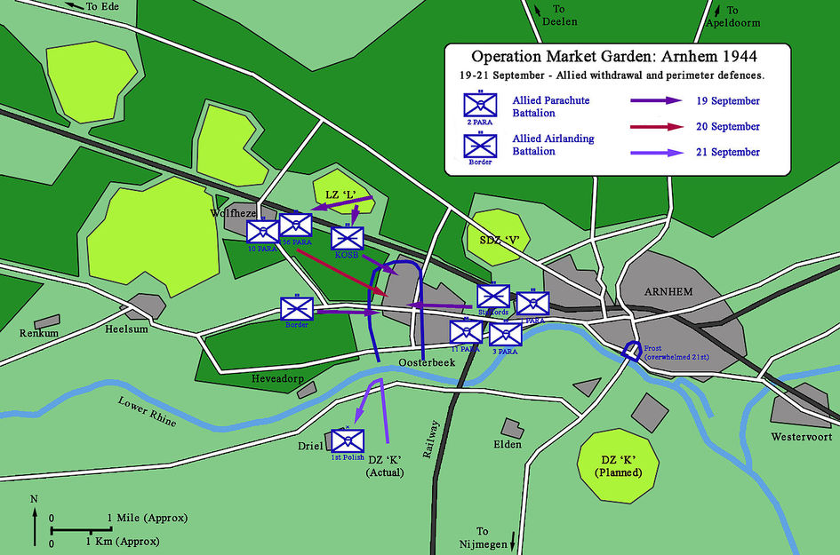 The British battalions break off their engagements and withdraw into the Oosterbeek perimeter, 19–21 September.