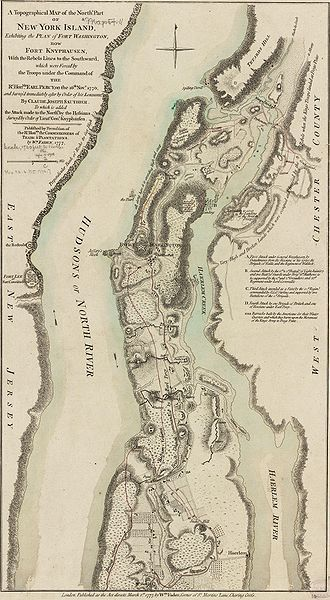 This map depicts the northern end of Manhattan, and the military fortifications in the area in 1776, during the American Revolutionary War. It has markings describing the military movements of the Battle of Fort Washington, fought November 16, 1776.