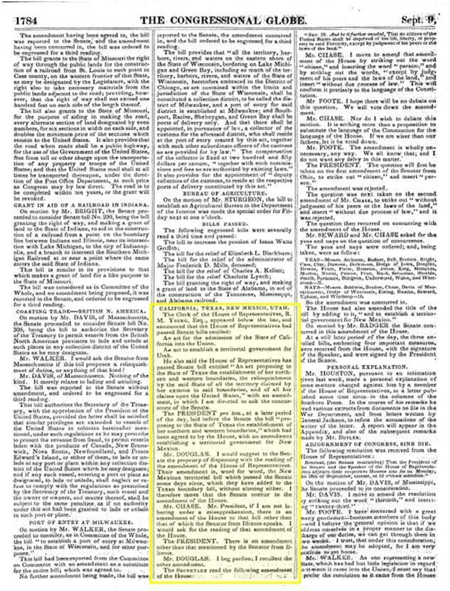 Congrsssional Globe, September 9, 1850, with reference to California's admission to the Union