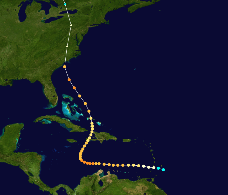 Path of Hurricane Hazel