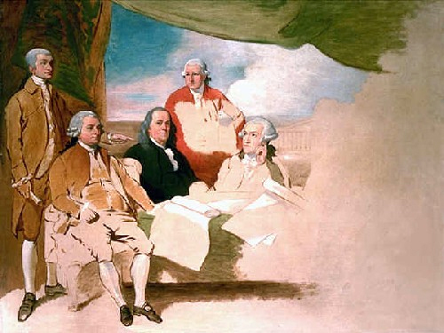 Treaty of Paris (unfinished painting -- from left to right) John Jay, John Adams, Benjamin Franklin, Henry Laurens, and William Temple Franklin. The British commissioners refused to pose, and the picture was never finished.