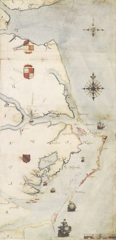 1585 map of Chesapeake Bay to Cape Lookout by John White.