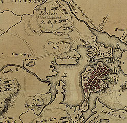Detail of a 1775 map of Boston, with Dorchester Heights at the bottom right