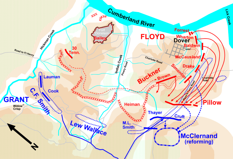 Map of the confederate's breakout attemp -  Feb 15 1862, morning