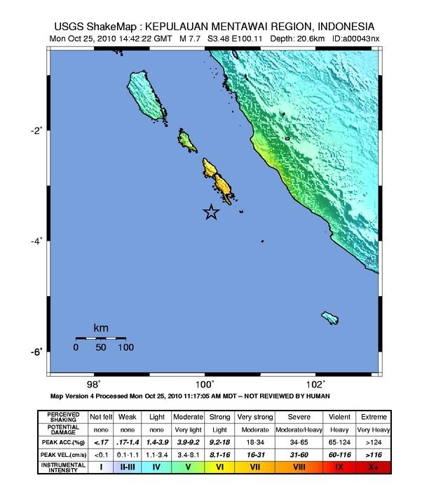 Shakemap of the October 2010 Sumatra earthquake