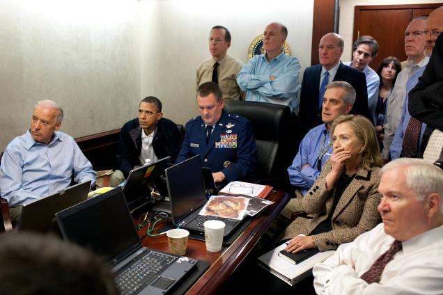 This now iconic image shows President Barack Obama and others receiving an update on the mission against Osama bin Laden in the Situation Room of the White House on May 1, 2011.