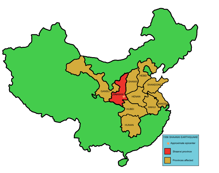 Map showing Shaanxi province in China and the provinces affected by the w:1556 Shaanxi earthquake