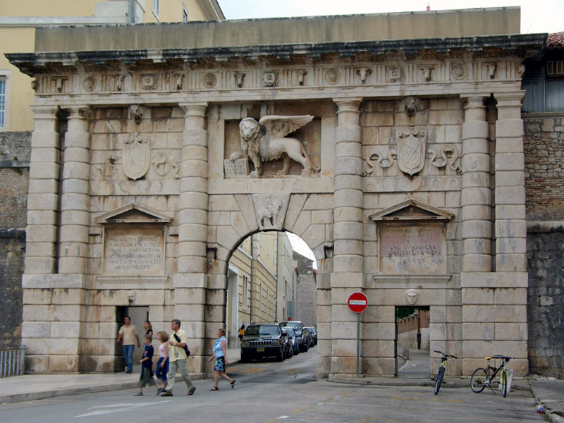"""Porta Terraferma"" in Zadar, built under Venetian Rule. The Lion of Saint Mark (above the arch) was the symbol of the Republic of Venice."