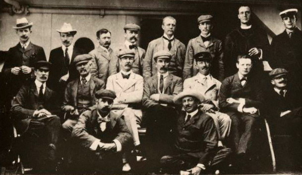 Returning from the Boer War aboard the S.S. Dunottar Castle, July 1900. Winston Churchill is seated in the second row, second from the right.