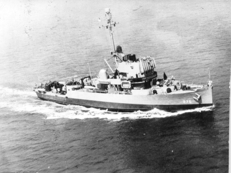US Navy Admirable-class minesweeper USS Pivot in the Gulf of Mexico for sea trials on 12 July 1944