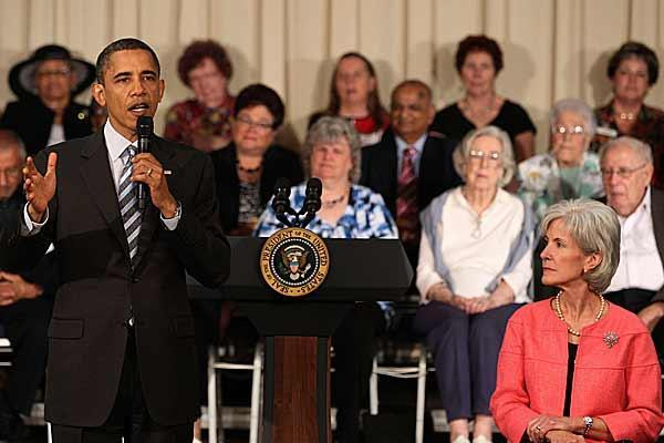 President Obama speaks to Maryland seniors Tuesday about benefits they can expect from the health-care reform legislation. 'Doughnut hole' prescription drug coverage checks go in the mail June 10 for qualifying seniors.