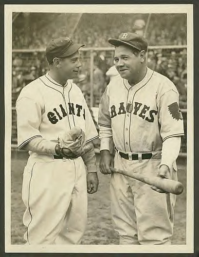 Here is a nice photo taken in 1935 at the polo grounds showing the giants mel ott and babe ruth when he was with the boston braves.