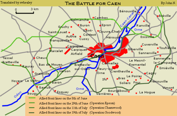 Anglo-Canadian offensives in the Caen area after D-Day, from 6 June to 20 July 1944