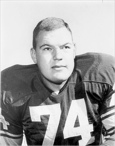 Merlin Olsen while playing for the Los Angeles Rams in 1965.