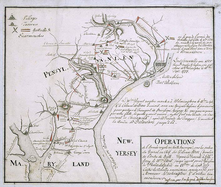 18th century Hessian map from the Marburg State Library in Germany  of the Philadelphia Campaign