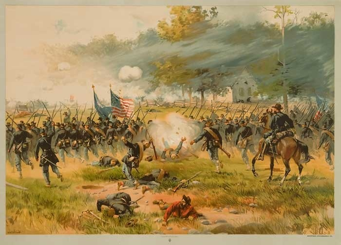 Charge of the Iron Brigade at the Battle of Antietam, by Thure de Thulstrup