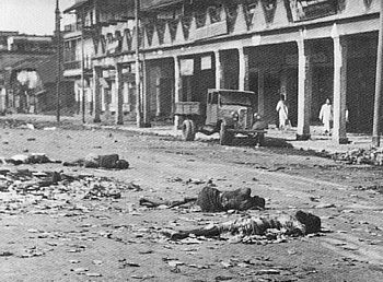 Dead and wounded after the 'Direct Action Day' which developed into pitched battles as Muslim and Hindu mobs attacked and killed each other, Calcutta in 1946, the year before independence