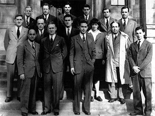 Chicago Pile One scientists at the University of Chicago on December 2, 1946, the fourth anniversary of their success.