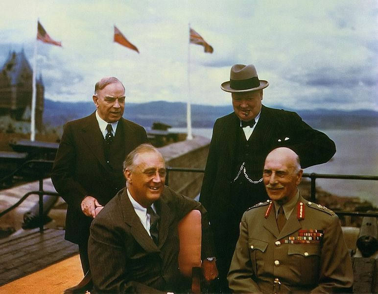Winston Churchill, William Mackenzie King, the Earl of Athlone, and Franklin D. Roosevelt on teh terrace of the Citadel in Quebec, Canada
