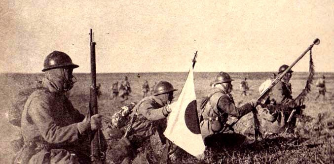 Japanese infantry advances in Manchuria after the Mukden Incident
