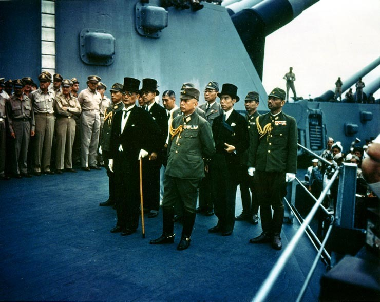 The Japanese representatives aboard the USS Missouri at the Surrender of Japan