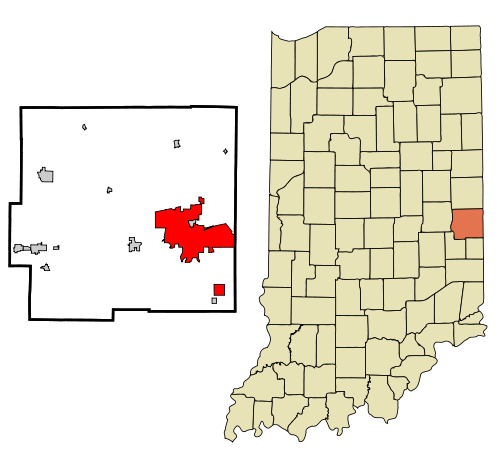 The incorporated and unincorporated areas in Wayne County, Indiana, highlighting Richmond in red.