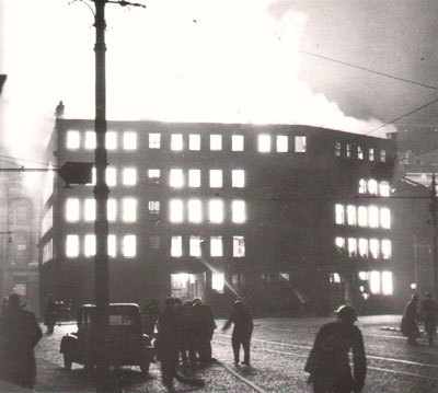Piccadilly ablaze during the night raid of 23 December 1940.