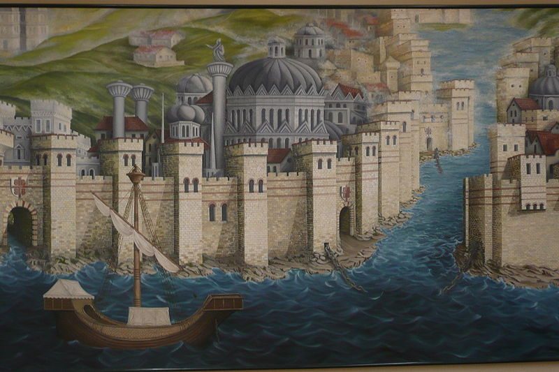 The Venetian Fleet entering the Golden Horn after breaking the chains that protected the city