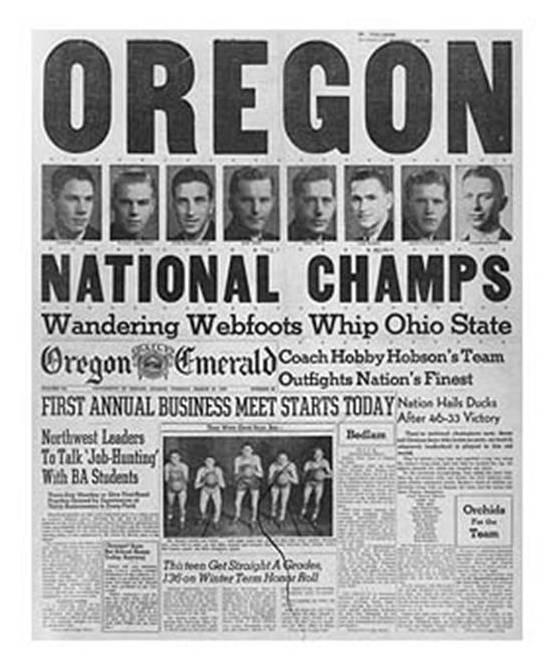 Oregonian newspaper front page after the Oregon Ducks won the first NCAA Division I Men's Tournament, 1939