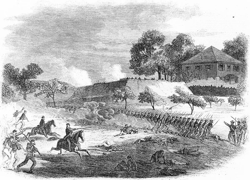 The war in Virginia - the 18th Army Corps storming a fort on the right of the Rebel line before Petersburg, June 15, sketch by Edwin Forbes