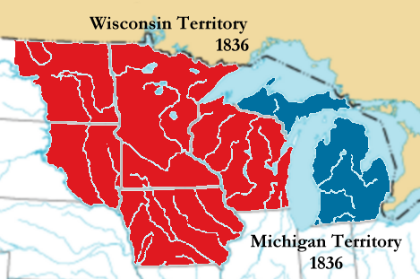 Separation of the Wisconsin Territory from Michigan Territory in preparation for Michigan statehood. The combined red and blue areas form the Michigan Territory at its maximum extent.