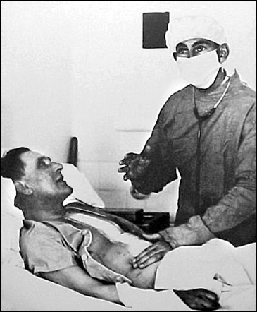 PIONEERS: Barnard with his patient Louis Washkansky