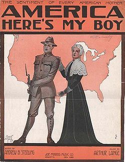 Sheet music cover for patriotic song, 1917