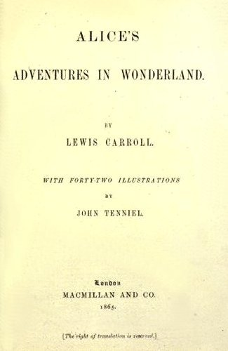 Title page of the 1865 edition of Lewis Carroll's Alice's Adventures in Wonderland