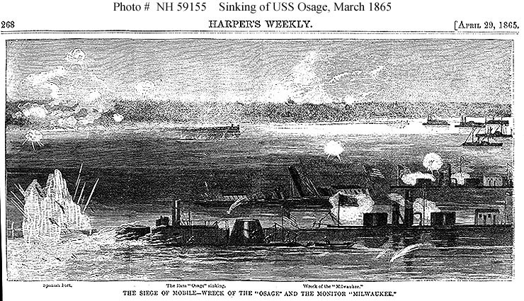 """The Siege of Mobile--Wreck of the 'Osage' and the Monitor 'Milwaukee.'"" - Harper's Weekly, April 29 1865"